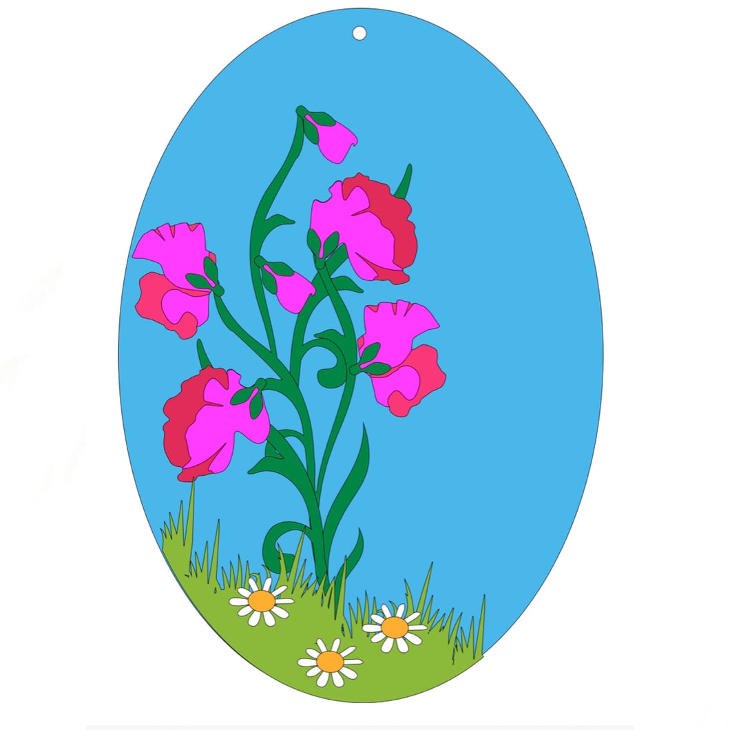 HC110 - MDF Layered Sweet Pea Plaque