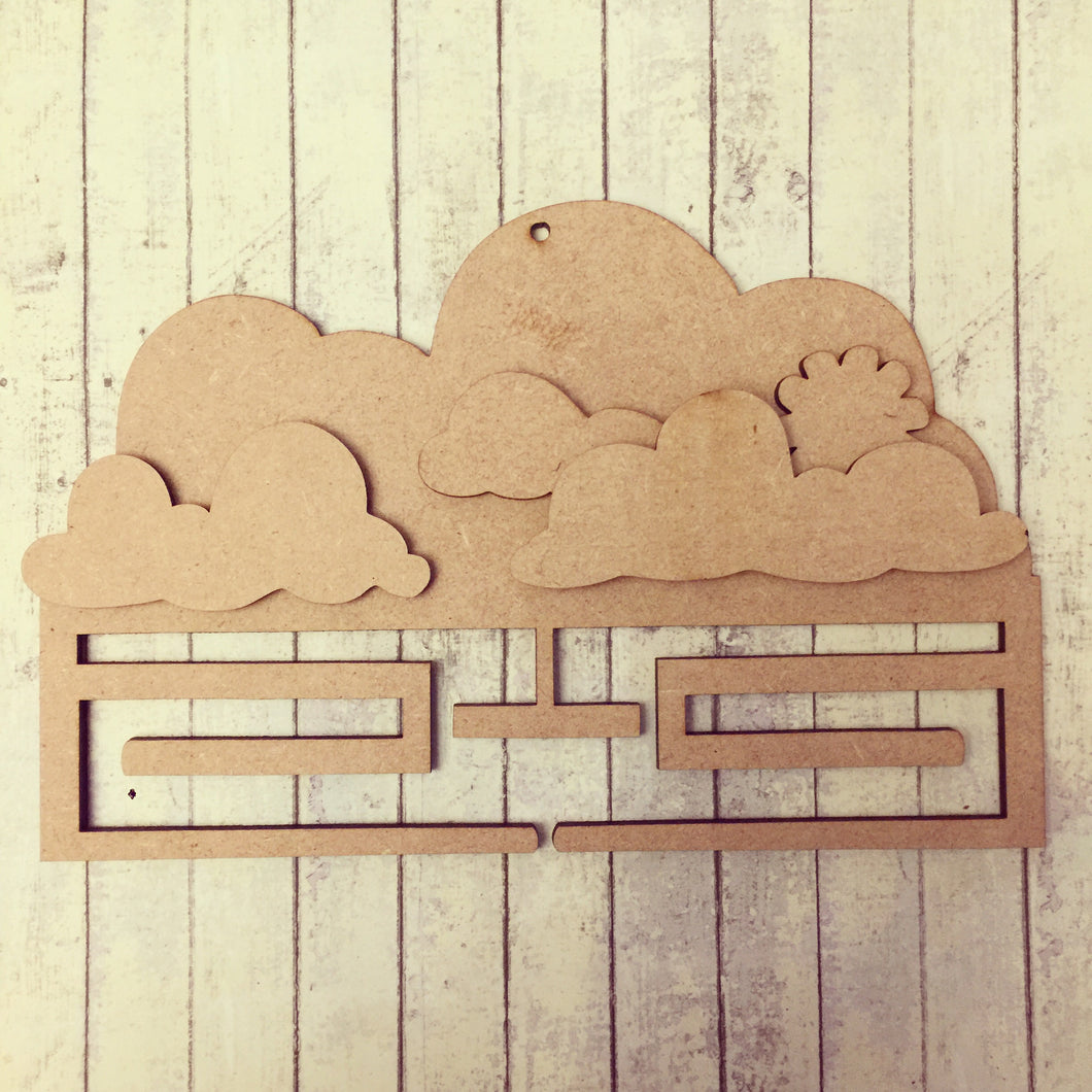 MH003 - MDF Cloud - Medal / Ribbon Holder - Olifantjie - Wooden - MDF - Lasercut - Blank - Craft - Kit - Mixed Media - UK