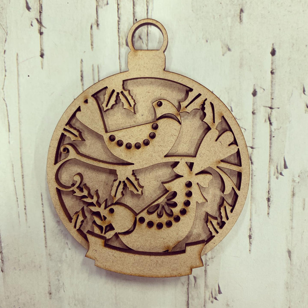 BD003 - Birds Christmas Bauble - with banner - Olifantjie - Wooden - MDF - Lasercut - Blank - Craft - Kit - Mixed Media - UK