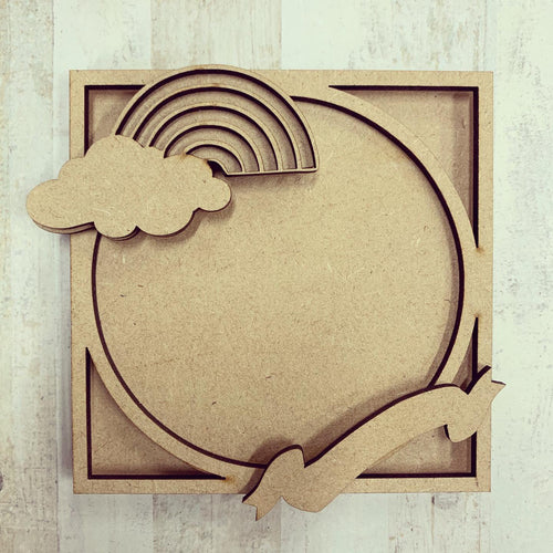 LH001 - MDF Rainbow Circle Frame Square 3D Plaque - Two Sizes