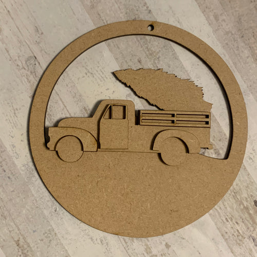 CH213 - MDF Truck with Tree Christmas Circle Bauble