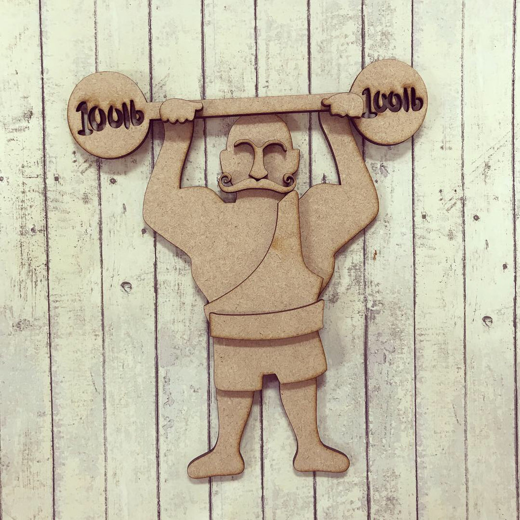 SJ140 - MDF Circus Strong Man - Olifantjie - Wooden - MDF - Lasercut - Blank - Craft - Kit - Mixed Media - UK
