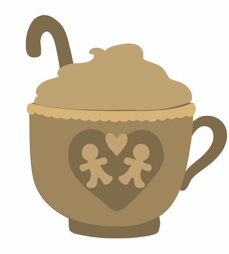SJ214 - MDF Gingerbread Hot Chocolate Cup Bauble Sarah Jane design