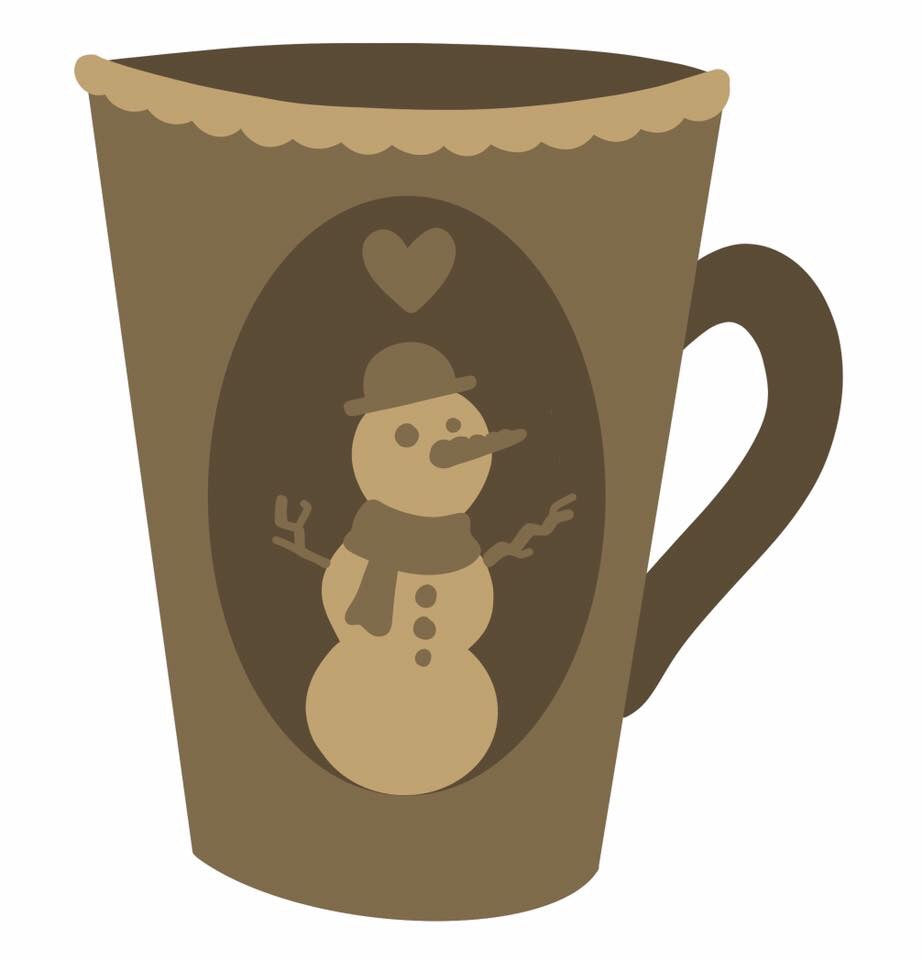 SJ217 - MDF Snowman Tall Mug Sarah Jane design - Olifantjie - Wooden - MDF - Lasercut - Blank - Craft - Kit - Mixed Media - UK