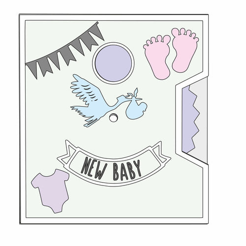 SJ418 - MDF Layered Spinner Plaque - 'New Baby'