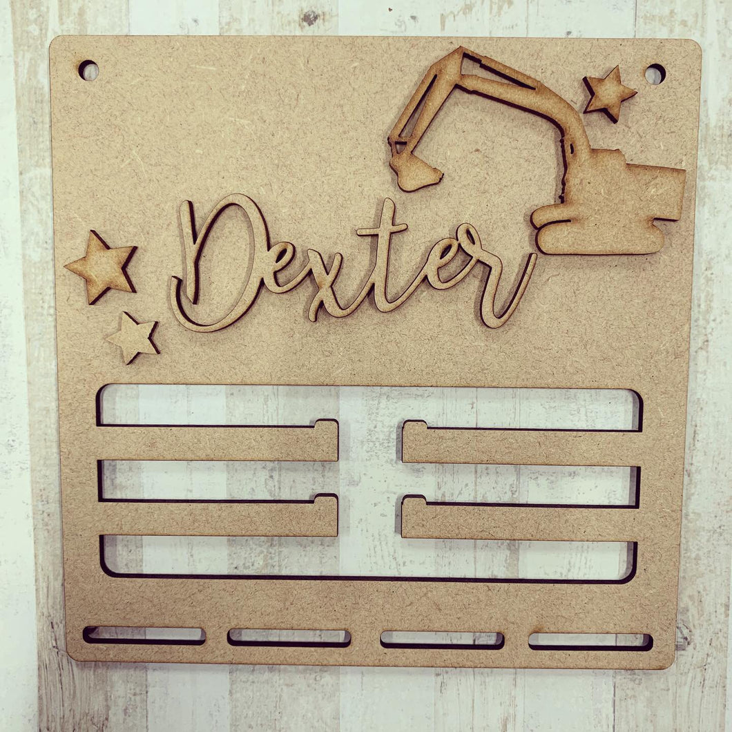BH024 - MDF Digger Themed - Medal / Bow Holder - Personalised & Choice of Shape - Olifantjie - Wooden - MDF - Lasercut - Blank - Craft - Kit - Mixed Media - UK