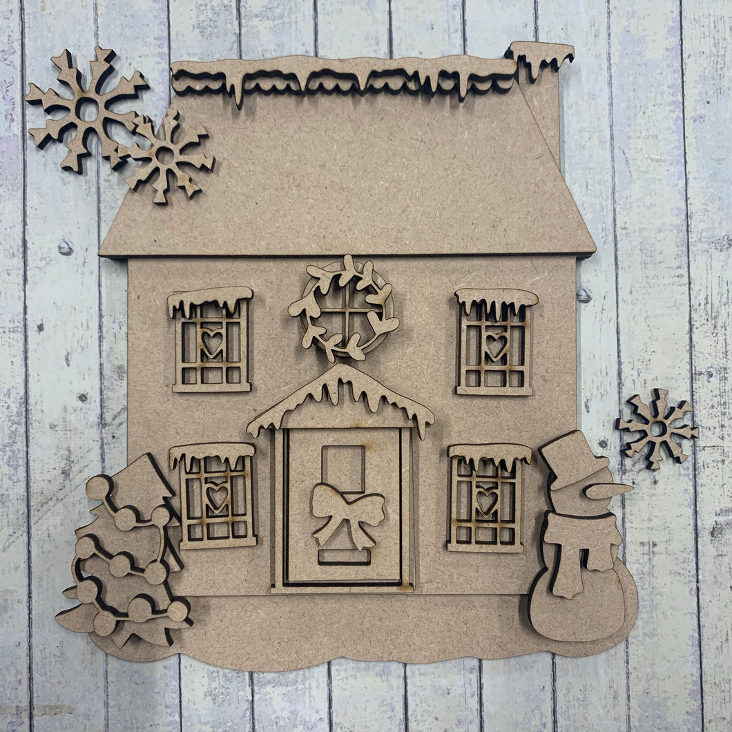 SJ224 -  MDF Sarah Jane Square Christmas Flat House - Olifantjie - Wooden - MDF - Lasercut - Blank - Craft - Kit - Mixed Media - UK