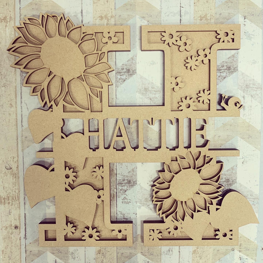 SL040 - Sunflower Themed Split Layered Personalised Letter