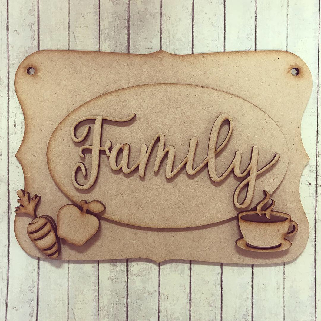 OP028 - MDF Kitchen Coffee Tea Food Themed Personalised Plaque