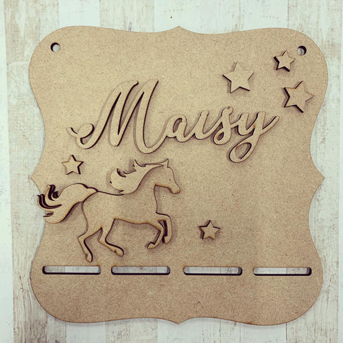 BH018 - MDF Horse Themed - Medal / Bow Holder - Personalised & Choice of Shape