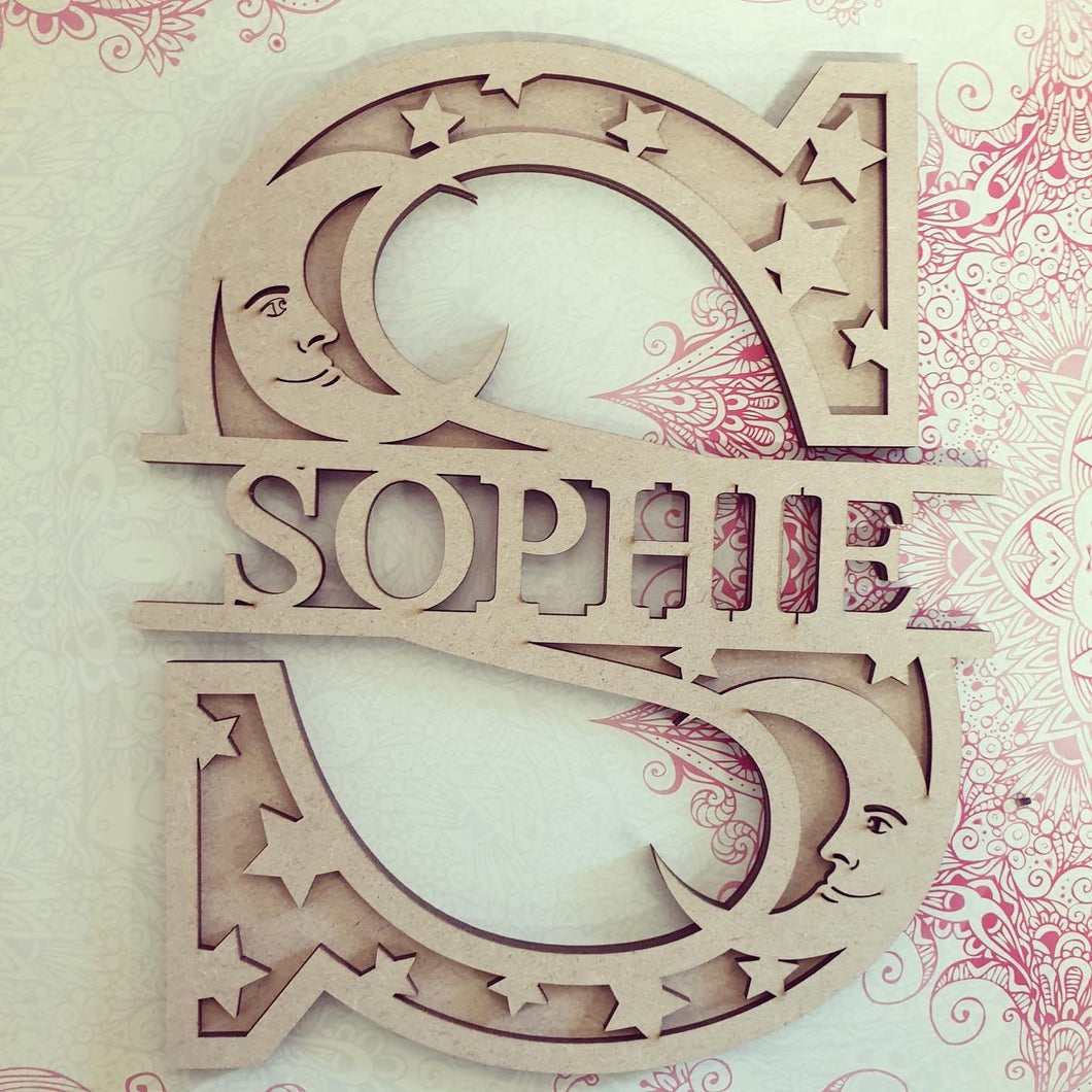 DL045 - MDF Moon Star Themed Layered Letter (without name)