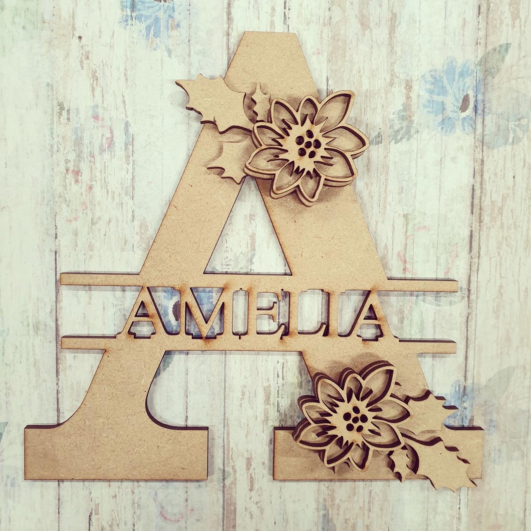 FL040 - Poinsettia MDF Personalised Split Letter