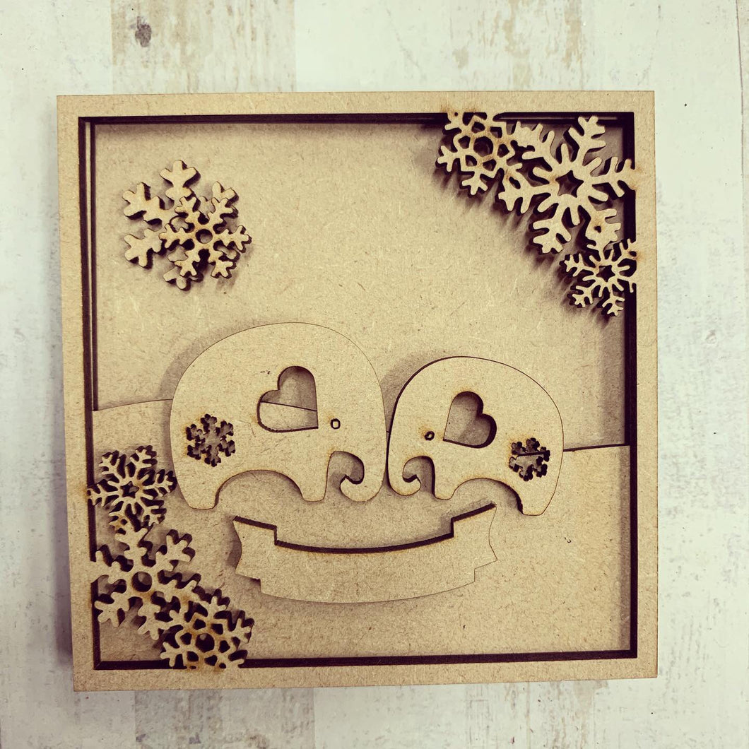 LH014 - MDF Elephants Frame Square 3D Plaque - Two Sizes