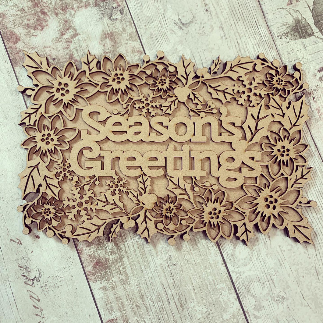 CH207 - MDF Layered Christmas Word Art Plaque - Season's Greetings
