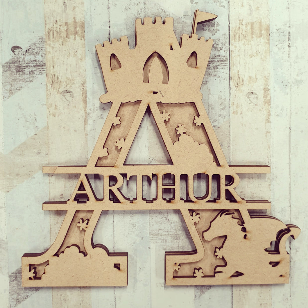 DL037 - MDF Castle  Dragon Themed Layered Letter (without name)