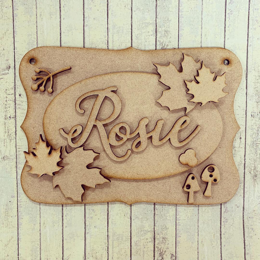 OP041 - MDF Autumn Maple Leaf Themed Personalised Plaque