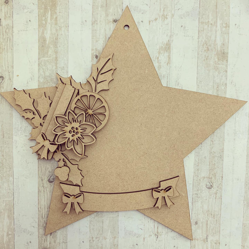 HS005 - MDF Hanging Star - Orange & Poinsettia - Choice of Star Shape