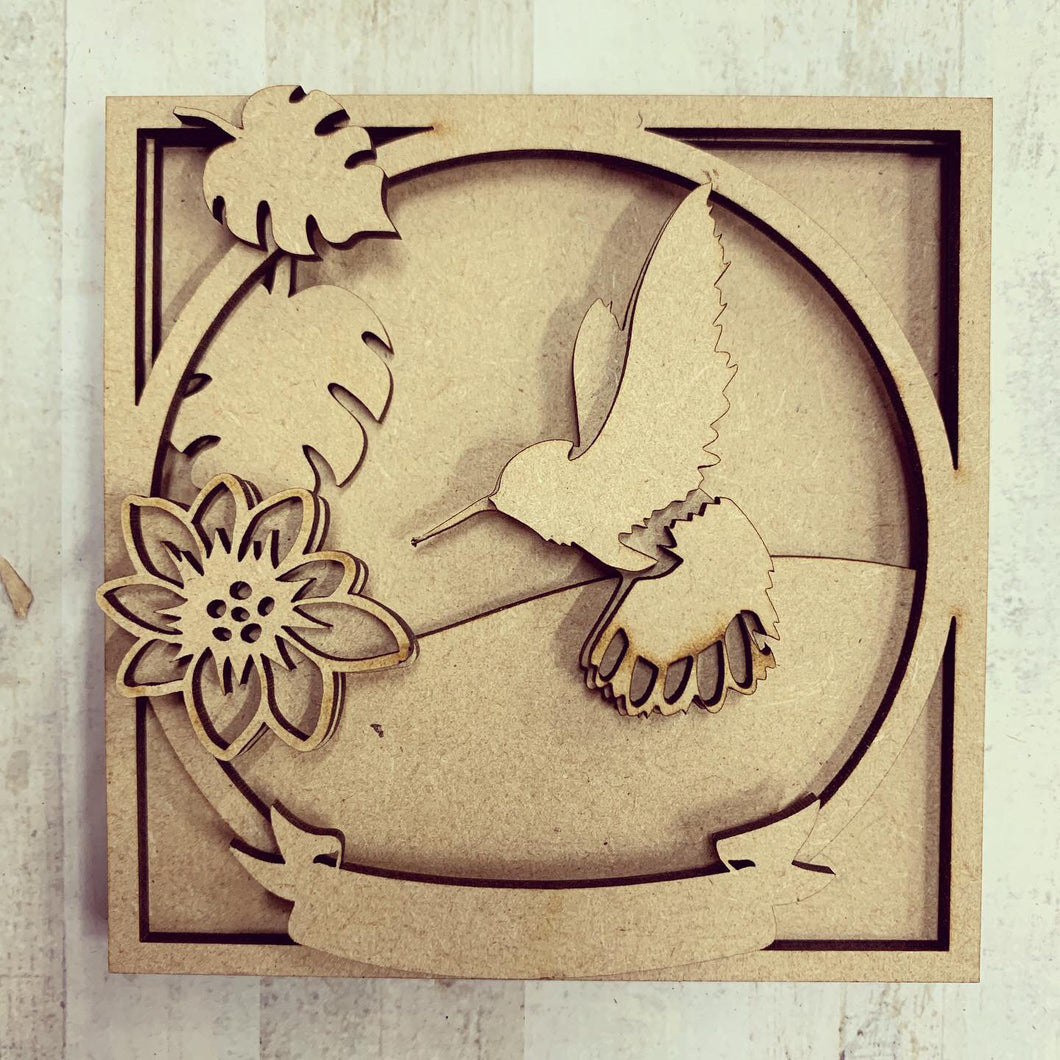 LH021 - MDF Humming bird Frame Square 3D Plaque - Two Sizes