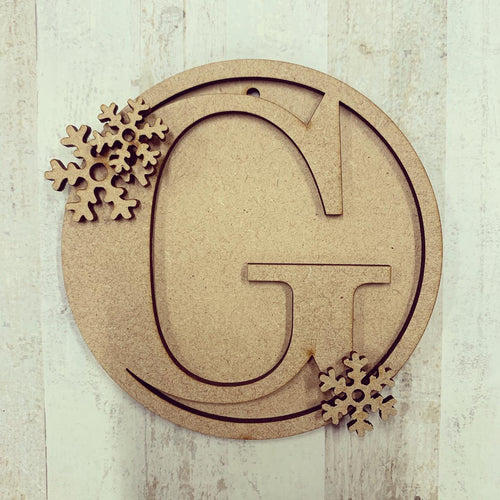 HI008 - MDF Personalised Hanging Circle Initial 10cm - Snowflake Christmas decoration