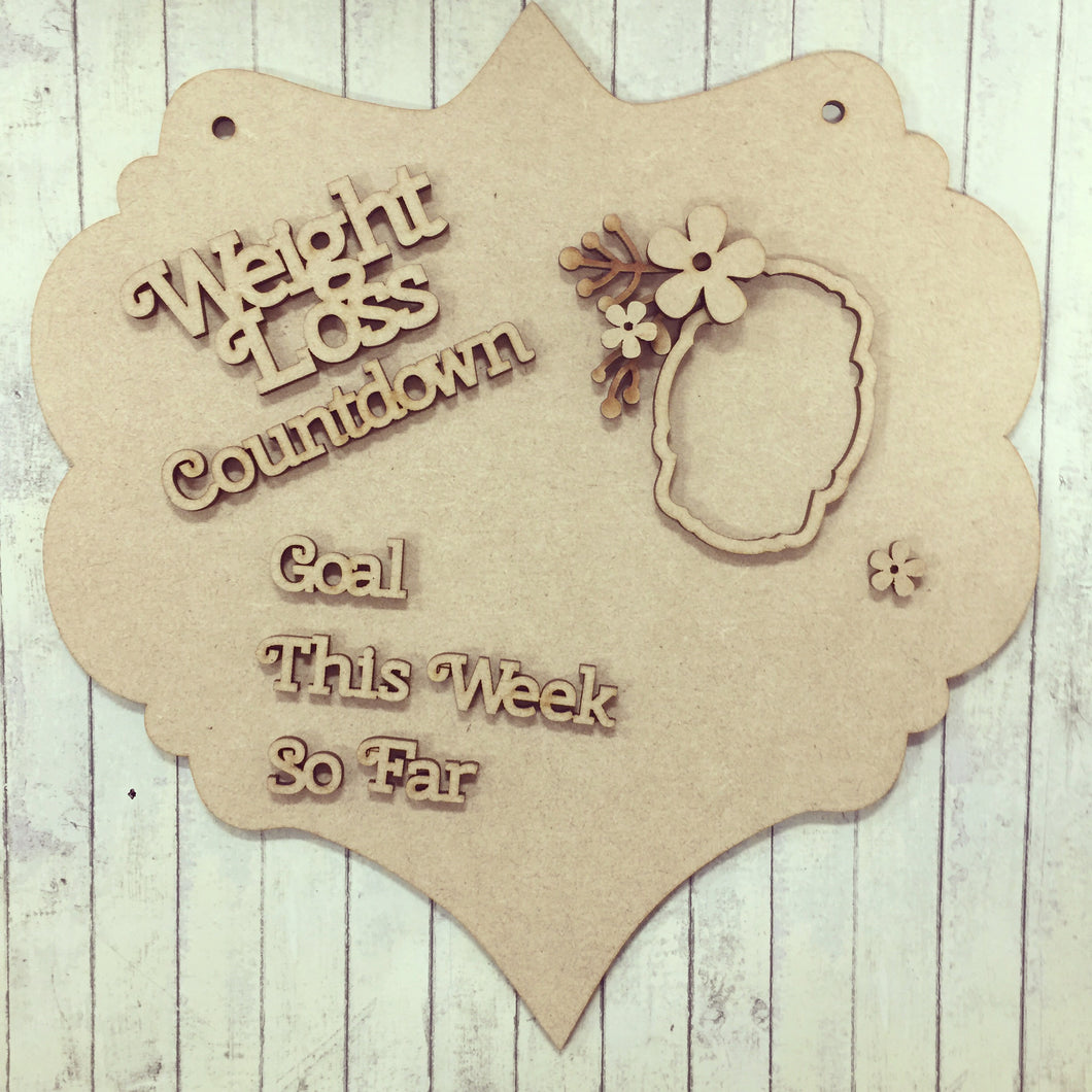 CD001 - MDF Floral Frame - Weight Loss Countdown Chalkboard Plaque - Olifantjie - Wooden - MDF - Lasercut - Blank - Craft - Kit - Mixed Media - UK