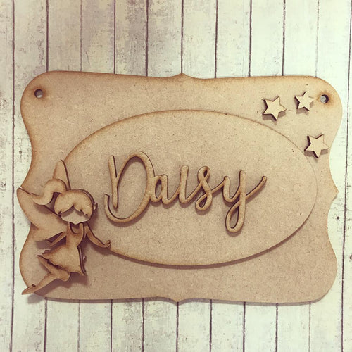 OP029 - MDF Fairy Themed Personalised Plaque