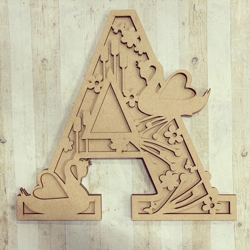 SL017 - Swan Themed Split Layered Personalised Letter