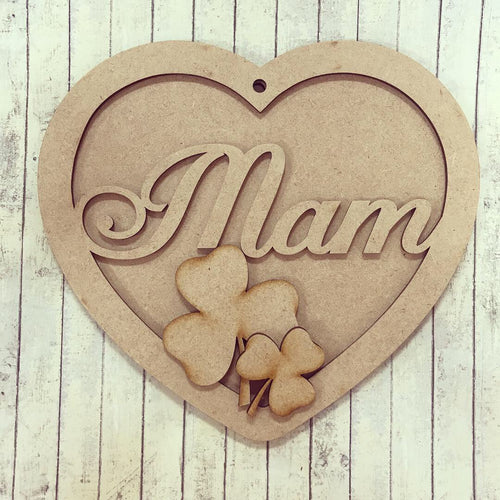 HB007 - MDF Hanging Heart - Shamrock Themed with Choice of Wording - 2 Fonts