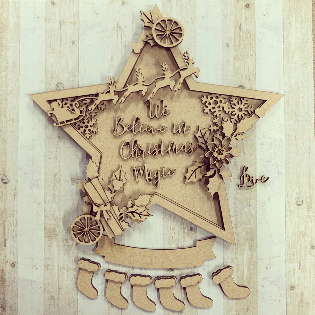 HC068 -  MDF 3D Large Multilayered Christmas Star