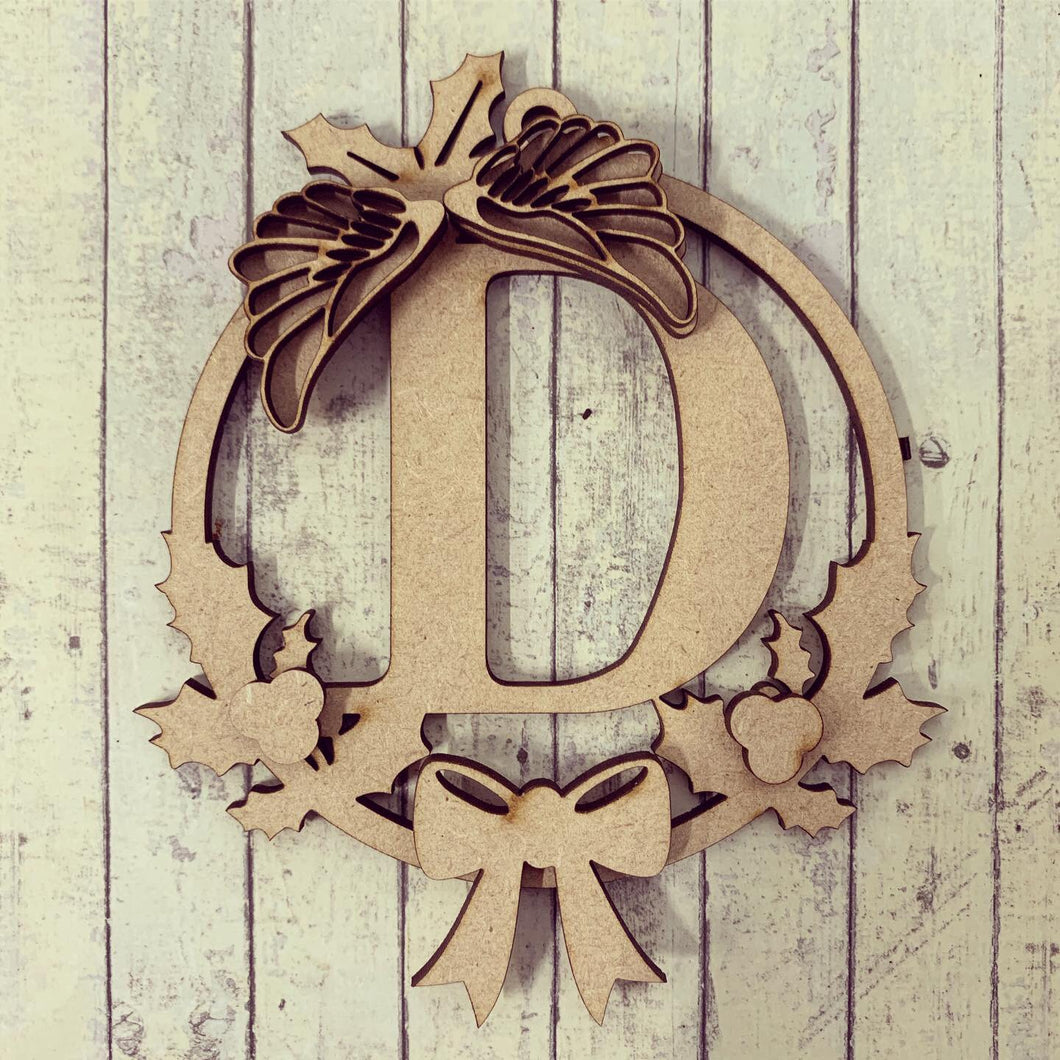 HI009 -  MDF Personalised Wording Hanging Circle Bauble 10cm - Angel Wing Holly Wreath