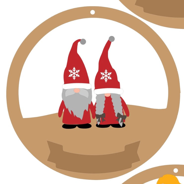 CH138 - MDF & Acrylic Gnome Couple Christmas Circle Bauble