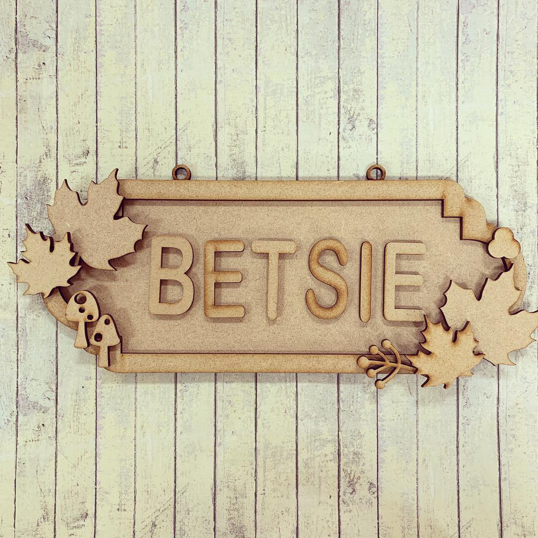 SS092 - MDF Autumn Maple Leaf Theme Personalised Street Sign - Small (6 letters) - Olifantjie - Wooden - MDF - Lasercut - Blank - Craft - Kit - Mixed Media - UK