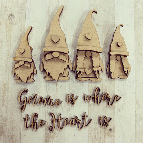 GN005 - MDF Gnome Family Set - Gnome is where the Heart is