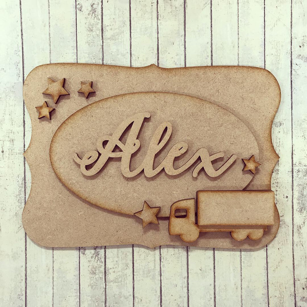 OP025 - MDF Truck Themed Personalised Plaque - Olifantjie - Wooden - MDF - Lasercut - Blank - Craft - Kit - Mixed Media - UK