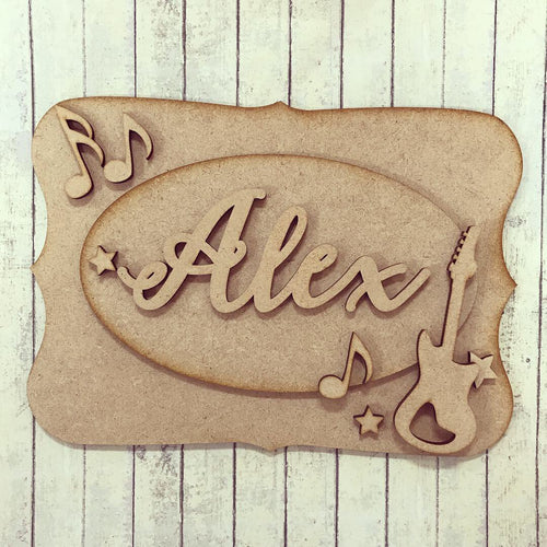 OP018 - MDF Guitar Themed Personalised Plaque
