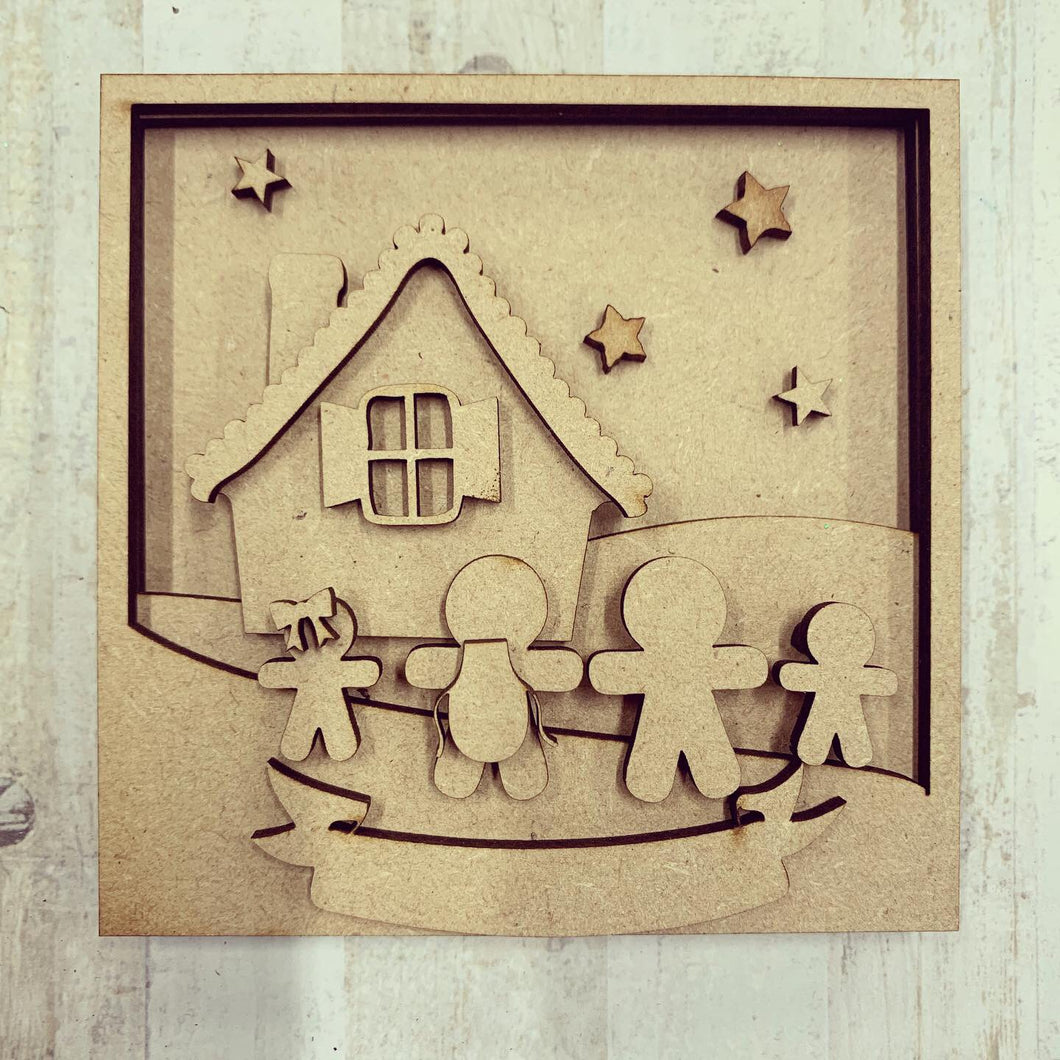 LH006 - MDF Gingerbread scene  Frame Square 3D Plaque - Two Sizes - Olifantjie - Wooden - MDF - Lasercut - Blank - Craft - Kit - Mixed Media - UK
