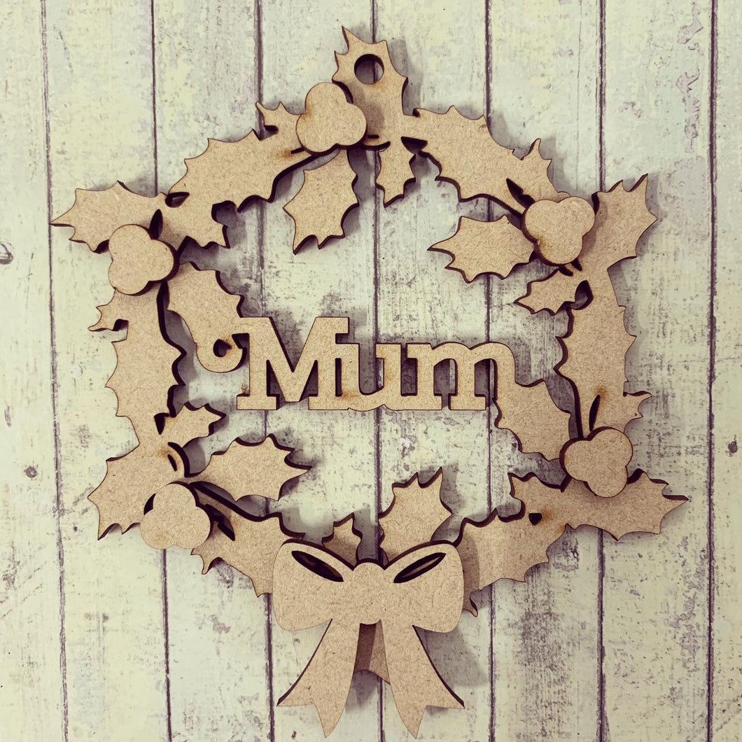 HI013 - MDF Personalised Hanging Circle Name  10cm - Holly & Berry Wreath