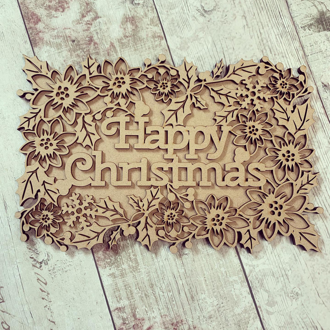 CH210 - MDF Layered Christmas Word Art Plaque - Happy Christmas