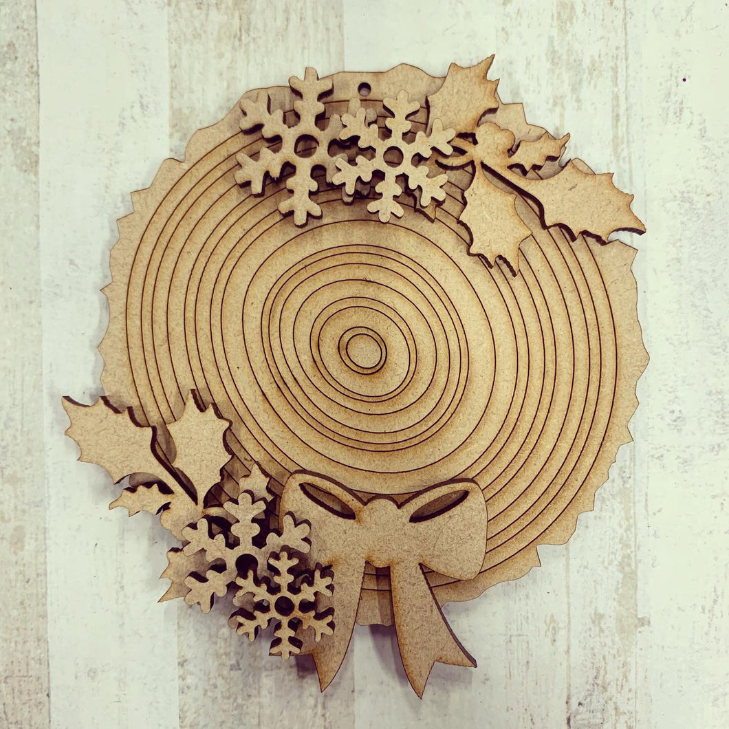 CH149 - MDF Wood Slice Effect Holly and Snow Christmas Bauble - Olifantjie - Wooden - MDF - Lasercut - Blank - Craft - Kit - Mixed Media - UK