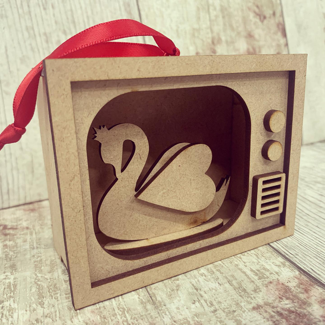 TM010 - MDF Mini Tv Bauble Hanging - Swan - Olifantjie - Wooden - MDF - Lasercut - Blank - Craft - Kit - Mixed Media - UK
