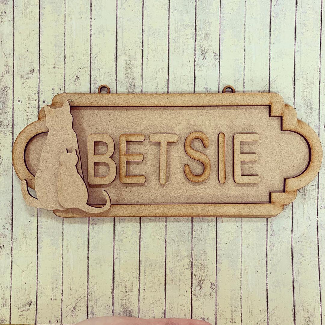 SS093 - MDF Cat Theme Personalised Street Sign - Small (6 letters)