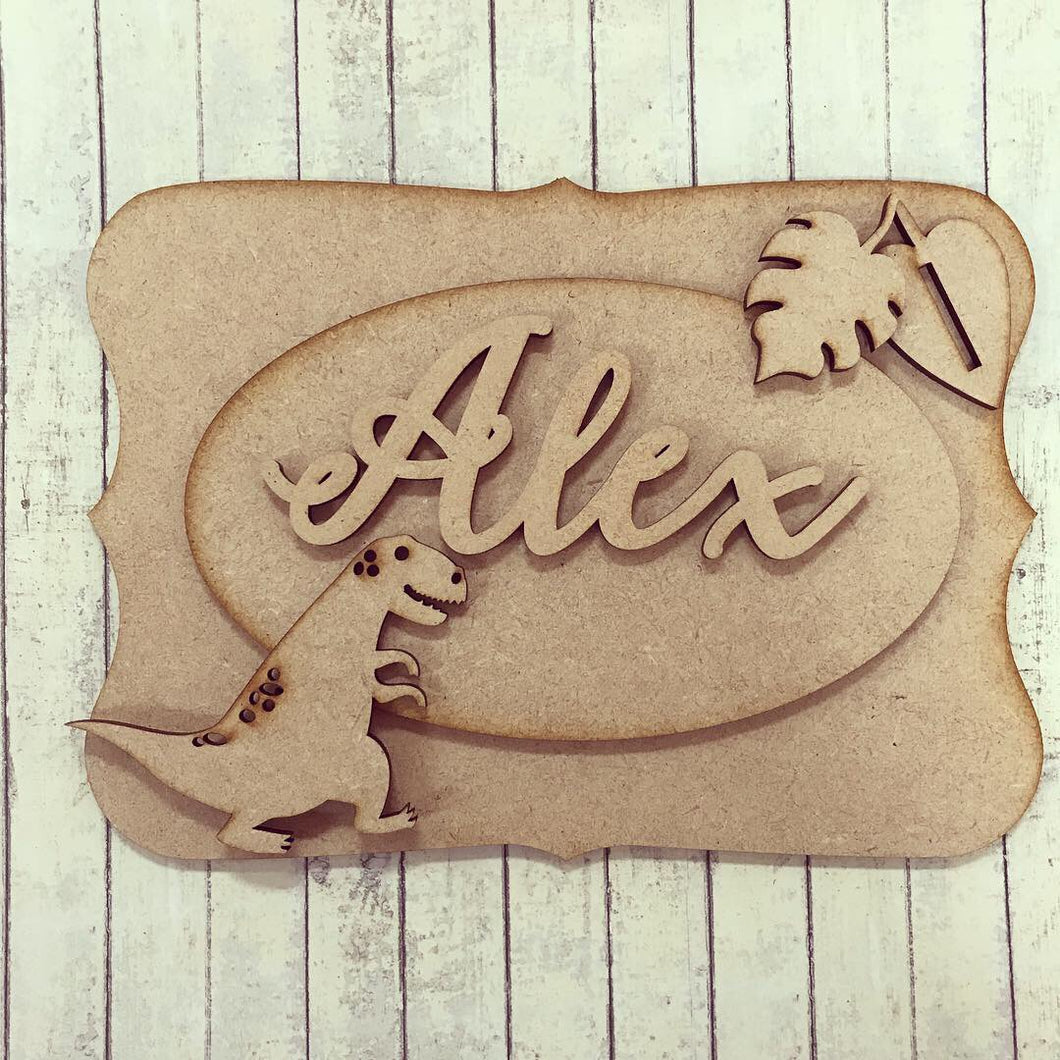 OP002 - MDF Dinosaur Themed Personalised Plaque