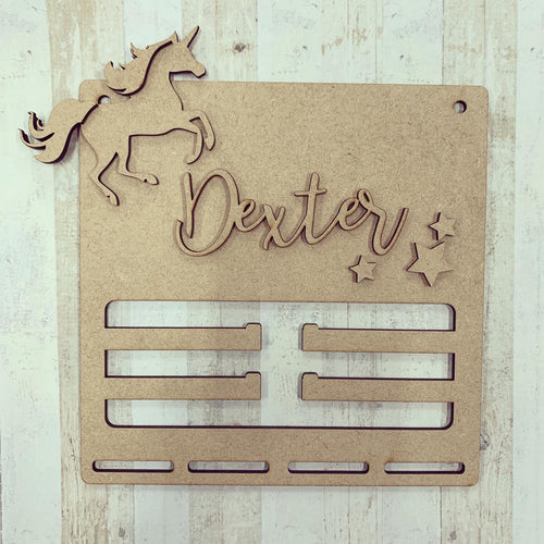BH013 - MDF Unicorn Themed Medal / Bow Holder Personalised & Choice of Shape