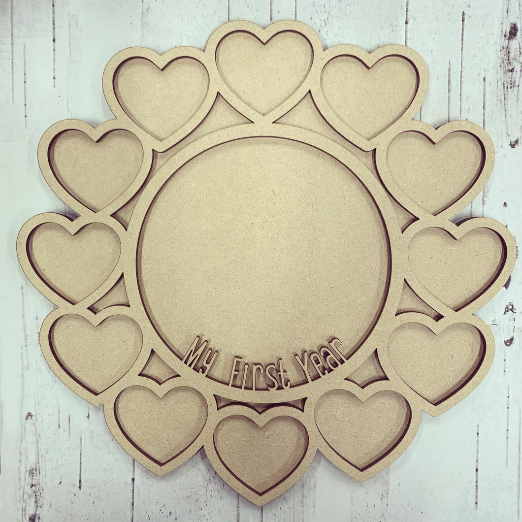 FR002 - MDF first year heart frame with hanging option
