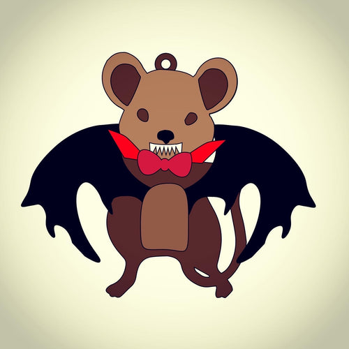OL395 - MDF Vampire Mouse Hanging Halloween Bauble