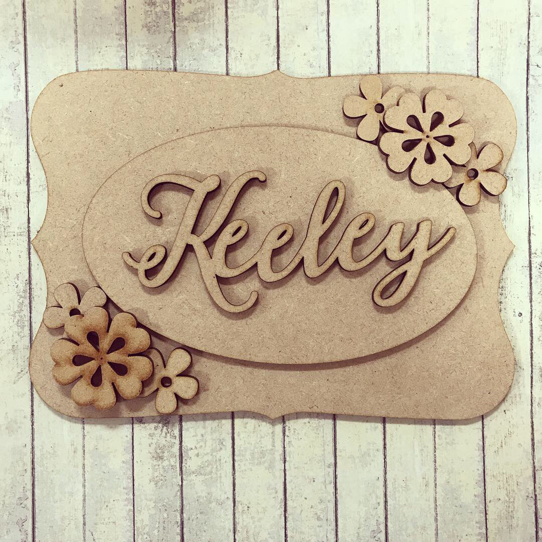 OP011 - MDF Flower Themed Personalised Plaque