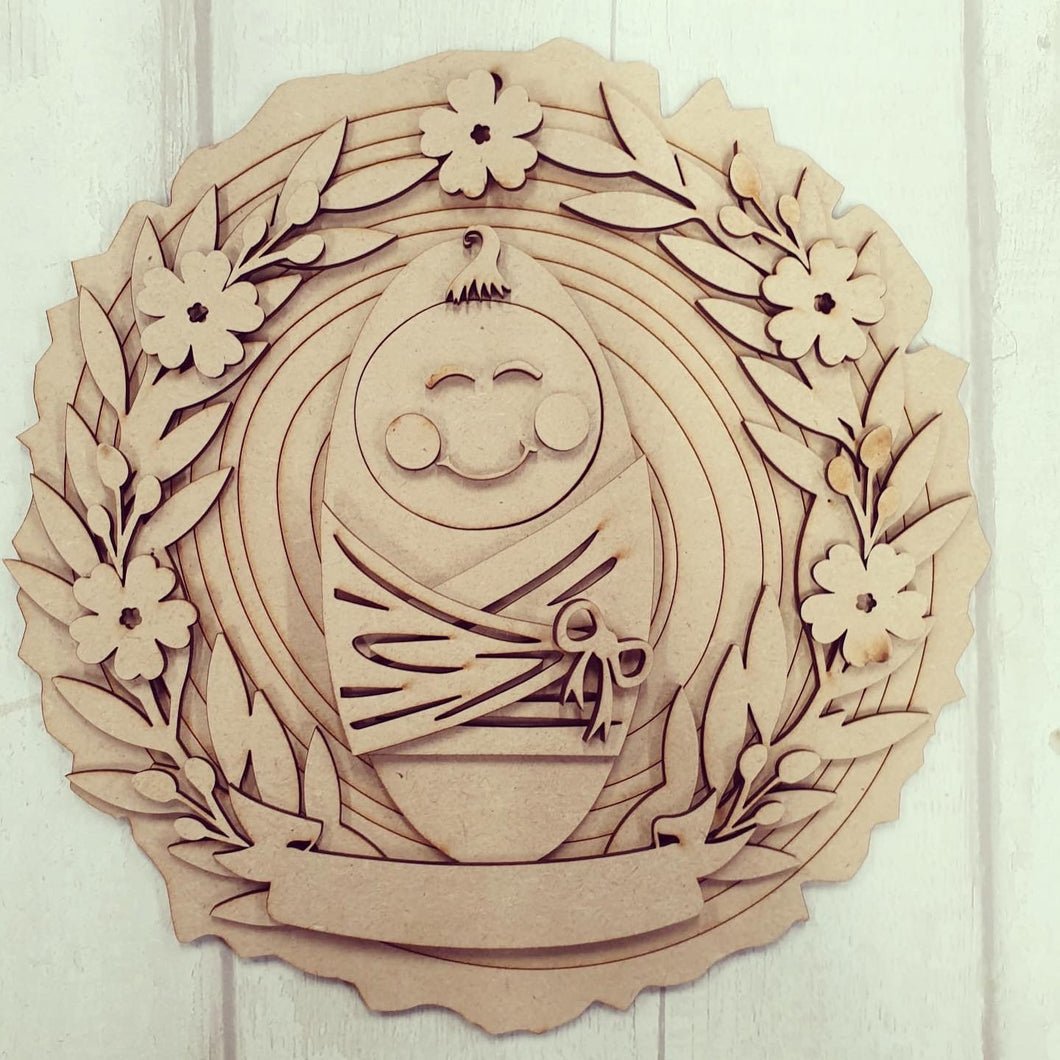 HC114 - MDF Layered New Baby Woodslice Plaque