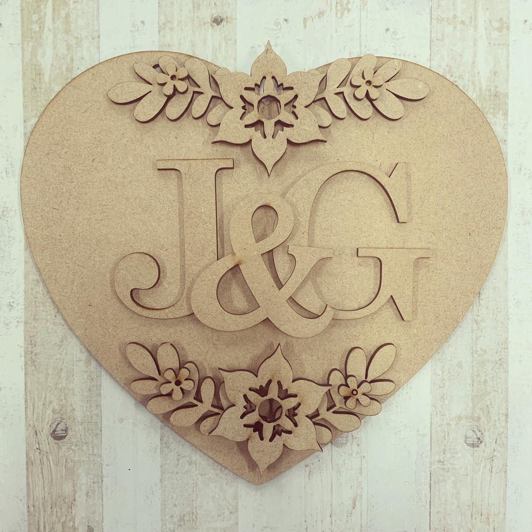 HH012- MDF Personalised Floral Heart Hanging - Olifantjie - Wooden - MDF - Lasercut - Blank - Craft - Kit - Mixed Media - UK