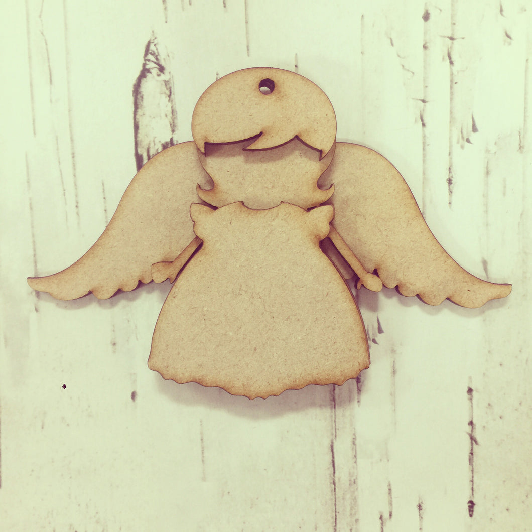 CH098 - MDF Angel Christmas Bauble - Optional Hole - Olifantjie - Wooden - MDF - Lasercut - Blank - Craft - Kit - Mixed Media - UK