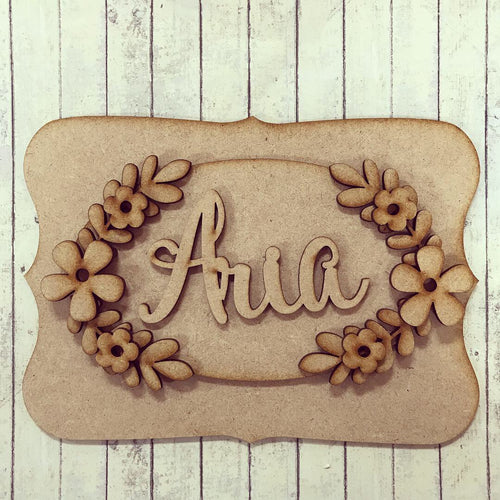 OP009 - MDF Floral Themed Personalised Plaque