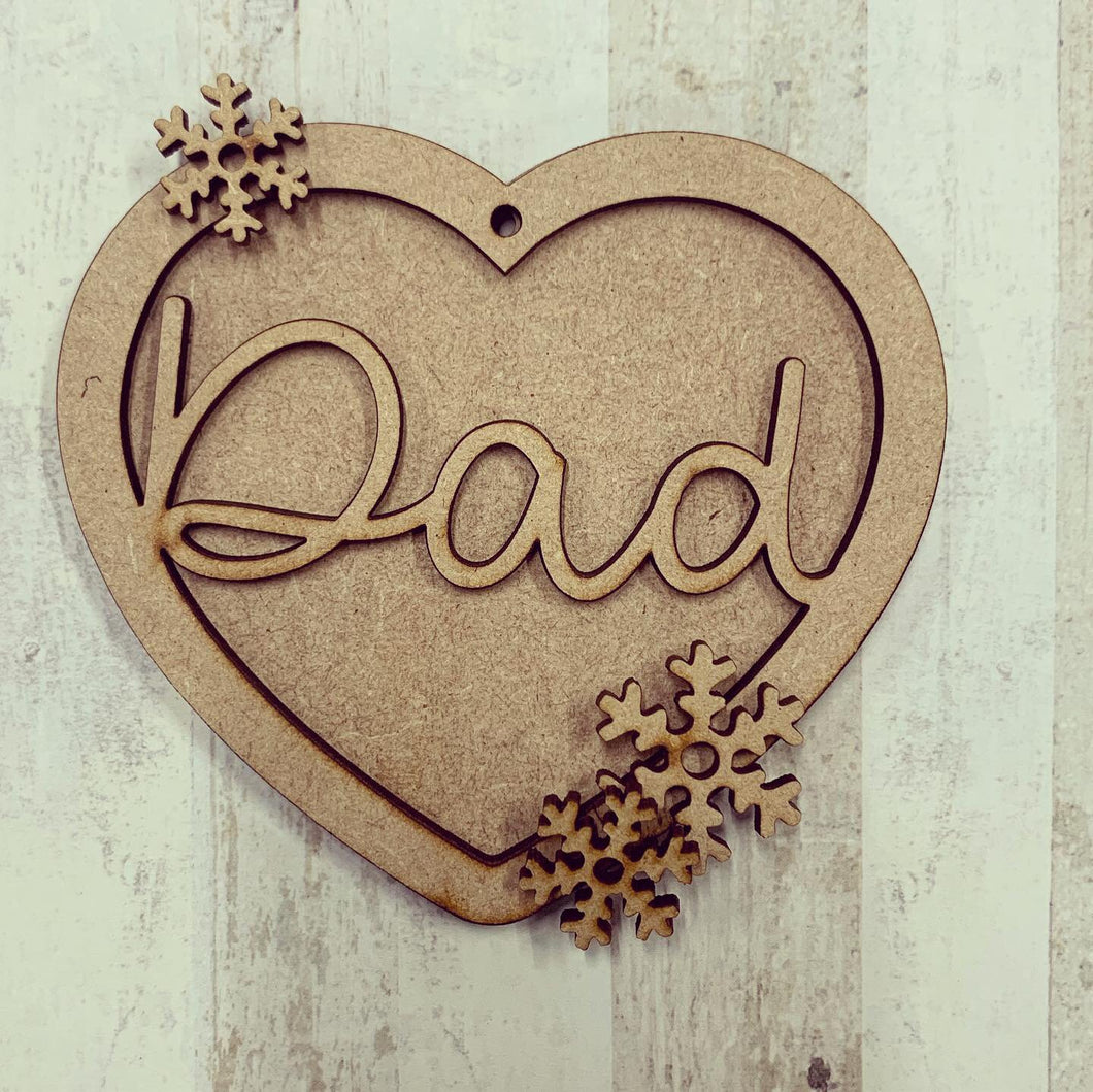 HB011 - MDF Hanging Heart - Snowflake Christmas Themed with Choice of Wording - 2 Fonts